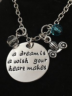 Cinderella Inspired Hand Stamped Charm Silver Plated Pendant Necklace. Gift Idea