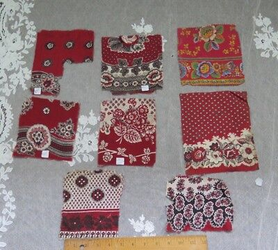 8 Antique Cotton Turkey Red & Madder Bandana Samples c1860~Design