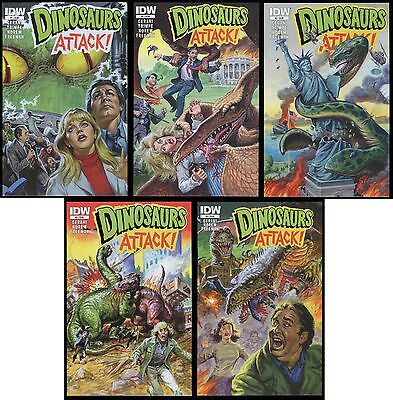 Dinosaurs Attack Comic Set 1-2-3-4-5 Lot Earl Norem art Trading Cards Topps IDW