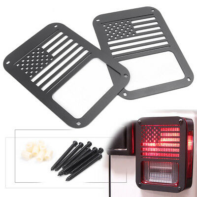 2PCS Rear American Flag Tail Light Cover for JEEP WRANGLER JK 2007-16 Protector