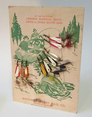 National Expert Bait Co. Counter Top Display Card with Lures -Vintage