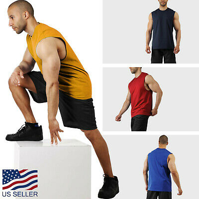 Mens Tank Top Muscle Gym Sleeveless Plain T Shirts Tee S-3XL Cotton Casual Solid