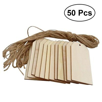 50X Wooden Big DIY Square Hanging Pieces Wedding Gift Tag Label String Cord AU