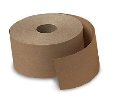 2 ROLLS 2.75in 70mm x 375 FT Reinforced Gummed Kraft Paper Tape Water Activated