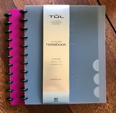 Lot Of 2 TUL Custom Note-Taking Discbound Notebook Magenta Gray Letter 60 Pages