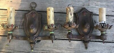 Antique Cast Iron Candlestick Wall Sconces - Vintage Pair - Heavy Cast Hubbell