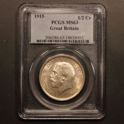 PCGS MS63 1915 Great Britain HALF 1/2 CROWN silver coin GEORGE V