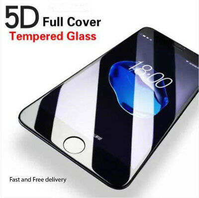 5D Full Cover 9H Tempered Glass Screen Protector Film For iPhone 6 8 7 6S X Plus