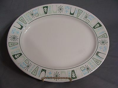 """Mid Century Modern 13"""" X 10"""" Oval Platter With Blue & Green Atomic Design"""