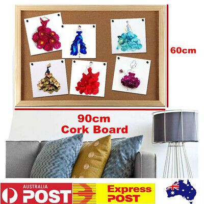 60x90cm Wooden Frame Cork Board+Pins Bulletin Notice Photo Message Wall Hanging