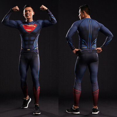 Men Sport T Shirt Gym 3D Compression Crossfit Superman Cycling Tee Hero Costume