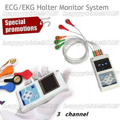 New 3-Channel Dynamic ECG Holter 24 hours Recorder Free PC Software