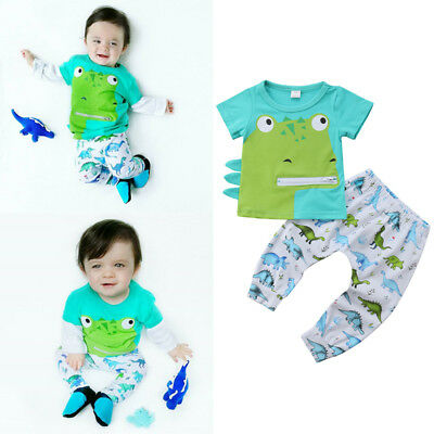 Funny Newborn Baby Boy Outfits Dinosaur Tops T-Shirt+Pants 2PCS Infant Clothes