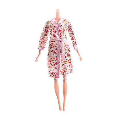 Handmade Doll Cloth Flower Printed Pajamas Sleepwear for Barbie Doll Accessory O