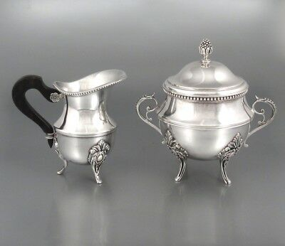 Antique French Ercuis Silver Plate Cream Pitcher and Sugar Bowl, 1872