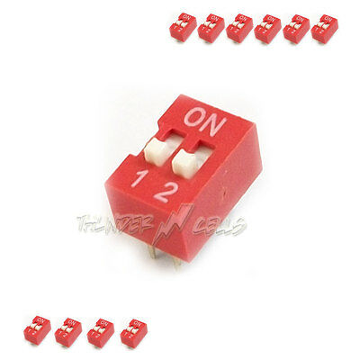 10 x 2 Position Way Slide Style DIP Switch 2.54mm Pitch Gold Tone 4 Pin PCB Code