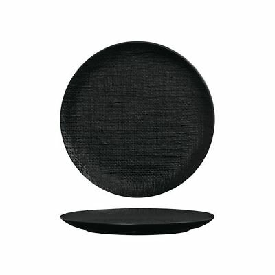 4x Coupe Plate 260mm Black Matte Luzerne Linen Commercial Dining Crockery NEW