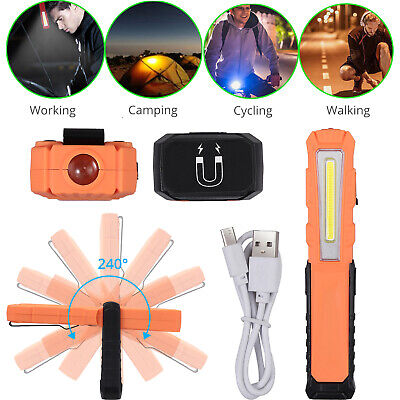 COB LED Pen Light Pocket Clip Magnet Work Inspection Lamp USB Rechargeable Torch
