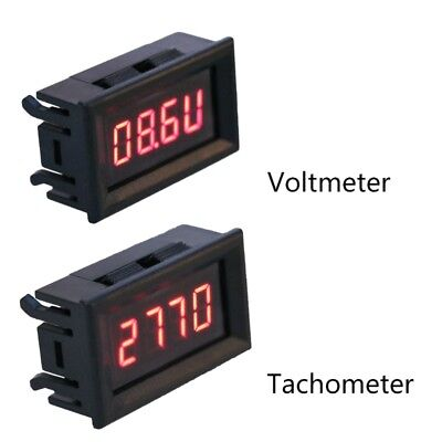 2 in 1 Tachometer Gauge LED Digital RPM Voltmeter for Auto Motor Rotating Speed