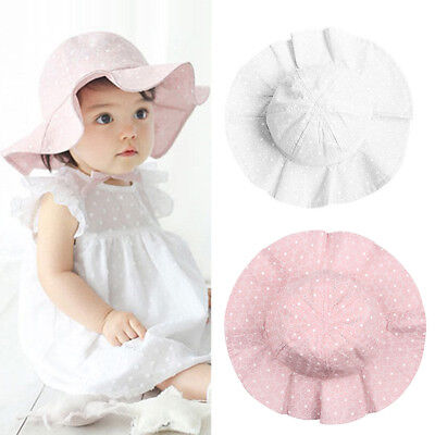 Infant Baby Girl Summer Wide Brim Sun Protection Beach Cotton Hat Reliable