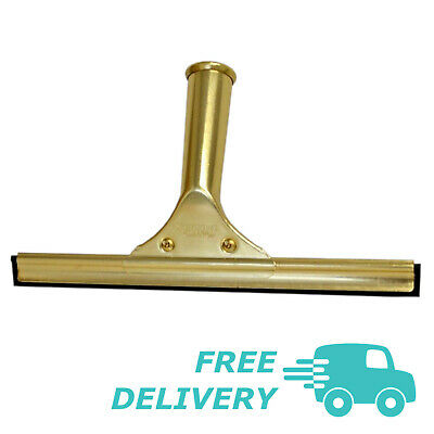 """Contico Pulex 10"""" Brass Window Cleaning Set, Handle, Squeegee Channel & Rubber"""