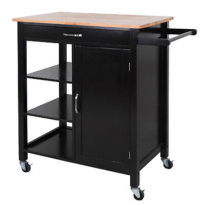 Home Kitchen Storage Cart Island W/ Rubber Wood Countertop Block On Wheel