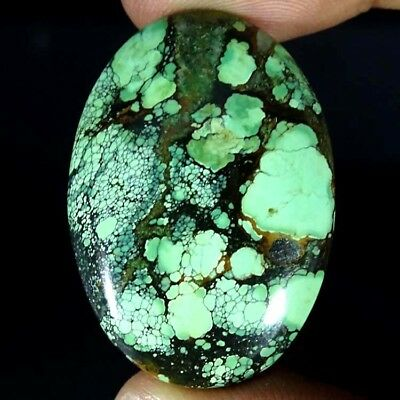 48.40Cts. 100% NATURAL UNTREATED TIBET TURQUOISE OVAL CABOCHON GORGEOUS GEMSTONE