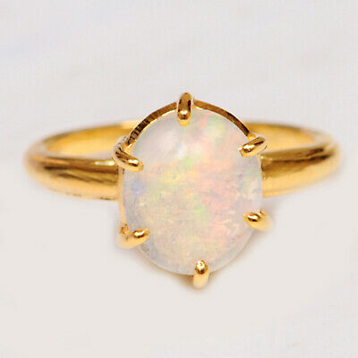 2.10 Carat Solid 14KT Solid Yellow Gold Oval Shape Natural Opal Engagement Ring