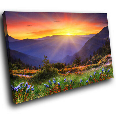 SC399 Sunrise Mountain Colourful Landscape Canvas Wall Art Large Picture Prints