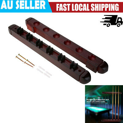 Wooden Billiard Pool Cue Rack Wall Mounted Rack Stick Holder Durable Wine Red AU