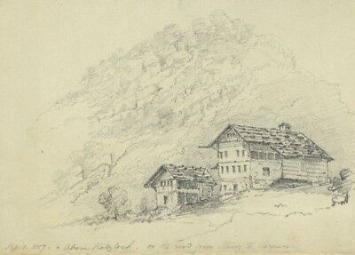 F.C. Tottie, Chalet above Rotzloch, Lake of Lucerne - 1857 graphite drawing