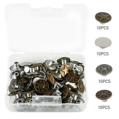 40 Set Mixed Jeans Buttons Denim Snap Fasteners Press Hammer Studs Poppers Craft