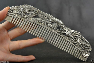 Chinese Rare Collectibles Old Handwork Tibet Silver dragon and phoenix Comb