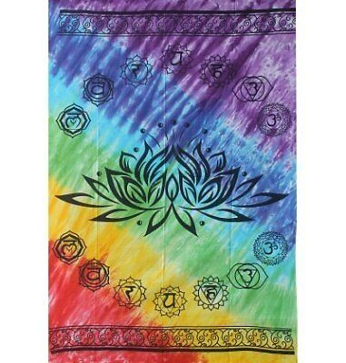 Lotus Chakra Tapestry 58inch x 82inch ~ 100% Cotton Tapestry Altar Cloth Bed ...