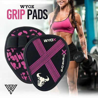 WYOX Hand Grip Weight Lifting Pads Workout Gloves Gym Fitness Pro Palm Grip Pink