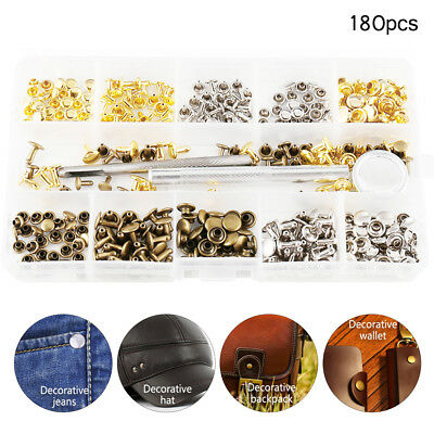 180pc Double Cap Tubular Rivets Press Studs Snap Fasteners Kit Tool Metal Punch