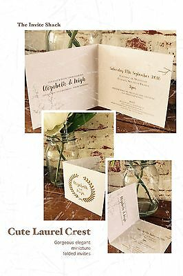 50 Mini Elegant Classy Vintage Shabby Chic Laurel Crest Wedding Invitations!