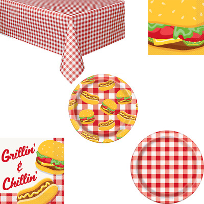 Summer BBQ Party Tableware Napkins Plates Cups Tablecover - Hawaiian Luau Picnic