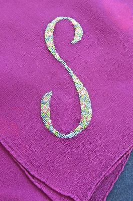 "Antique Mauve Silk Chiffon 18"" Scarf FAB Petit Point Embroidered Monogram S"