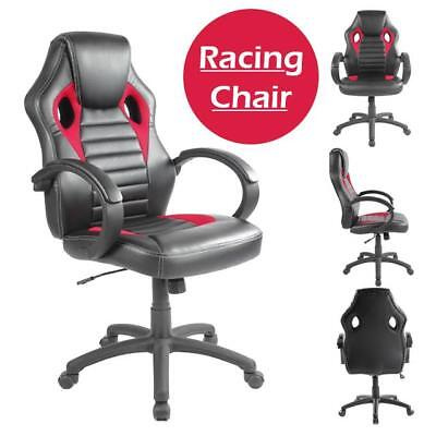 Office Chair Executive Racing Gaming Swivel Pu Leather Red Desk Pc Uk