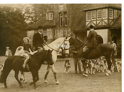 1949 HAARLE Prince Bernhard of NETHERLANDS with Princess IRENE on horseback