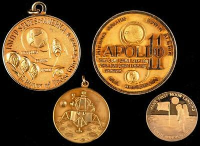 4 Commemorative Space Coins in 10K and 14K Yellow Gold Lot 802
