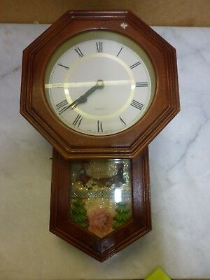 Charming Schoolhouse/regulator style clock with cute scenic window.