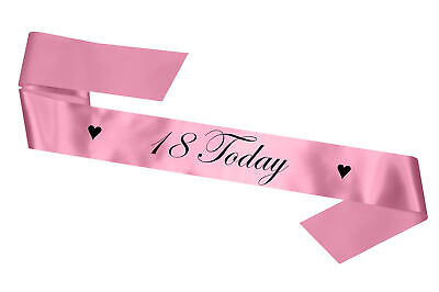 Personalised Birthday Sash Any Age 18 Today Baby Pink Gift 17 18 21 30 Party