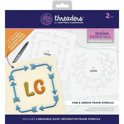 Threaders Monogram Maker Template Stencil - Vine and Arrow Frames
