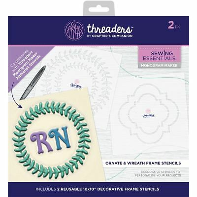 Threaders Monogram Maker Template Stencil - Ornate and Wreath Frames