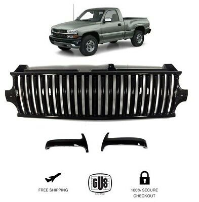 For 99 02 Silverado And 00 06 Suburban Tahoe Vertical Style Grill Gloss Black