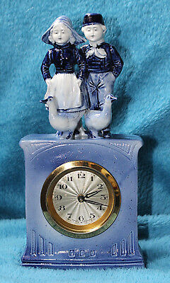 Antique Porcelain Blue & White Clock Figurine