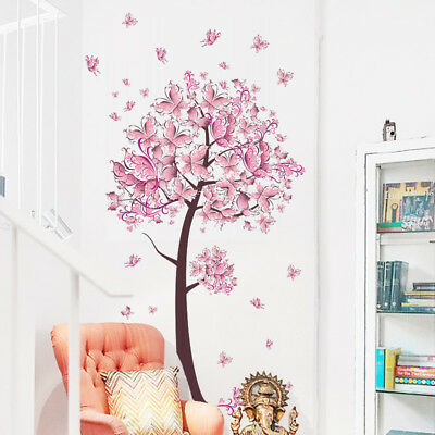 Bedroom Child Baby Girls Pink Fairy Butterfly Trees Wall Sticker Home Room Decor