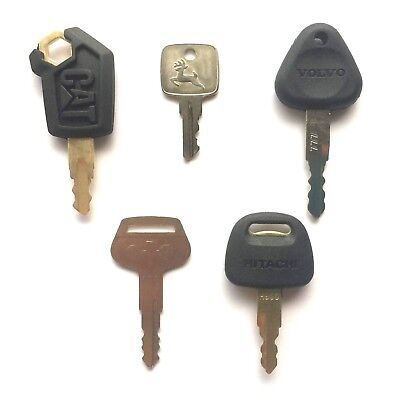 Heavy Equipment  Key Set - 5 Keys CAT John Deere Volvo Komatsu & Hitachi